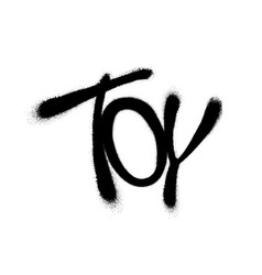 Sprayed toy font with overspray in black over vector