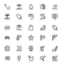 Summer and beach line icons 2 vector