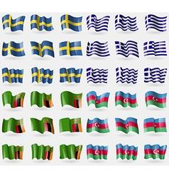 Sweden Greece Zambia Azerbaijan Set of 36 flags of vector image