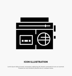 tape radio music media solid black glyph icon vector image