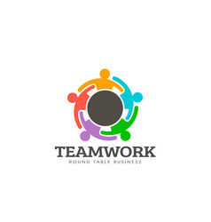 teamwork round table logo vector image