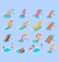 water park aquapark isometric icon set vector image