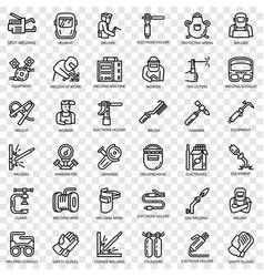 Welder equipment icon set outline style vector