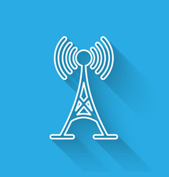 white antenna icon isolated with long shadow vector image
