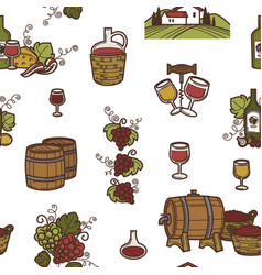 wine and barrels with alcoholic beverage seamless vector image