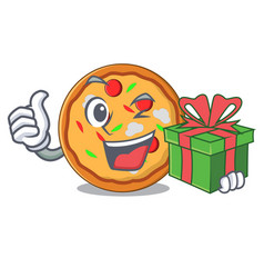 with gift pizza mascot cartoon style vector image