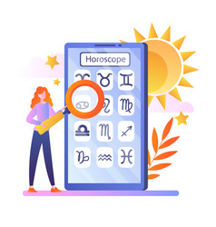 Woman view daily horoscope forecast in app vector