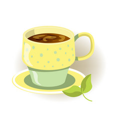 yellow and green cup hot beverage with saucer vector image