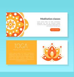 Yoga health studio meditation class landing page vector