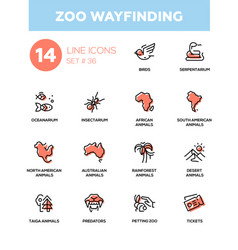 Zoo wayfinding - modern single line icons vector