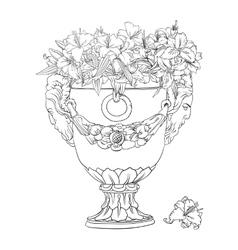 antique flowerpot vector image vector image