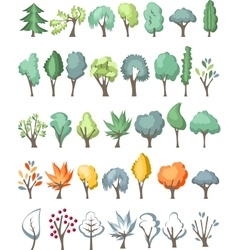 Big set with different trees on white vector image