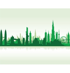 cityscape green flat vector image vector image