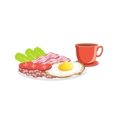 Fried Egg Bacon And Coffee Breakfast Food Drink vector image