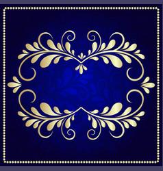 gold pattern frame on a dark blue background vector image vector image