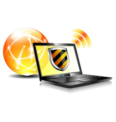 Internet Ball and Laptop Protection Shield vector image vector image