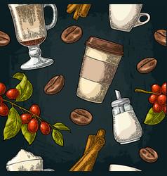 seamless pattern glass latte sugar beans branch vector image