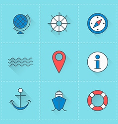 Travel icons icon set in flat design style For web vector image