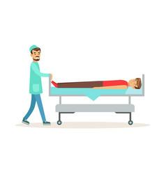 emergency doctor transporting injured man on vector image