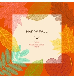 Happy fall template with autumn leaves and simple vector image