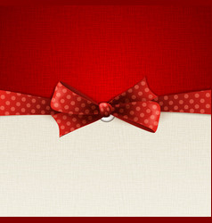 Holiday background with red polka dots bow vector image