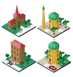 isometric image set with public buildings vector image