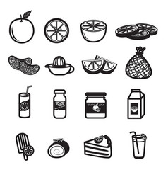 orange fruit and product icons set vector image vector image