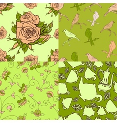 Set of vintage seamless patterns vector image