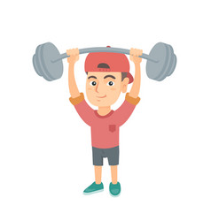 strong caucasian boy lifting heavy weight barbell vector image