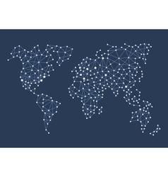 Triangle Polygonal Style World Map on Dark vector image