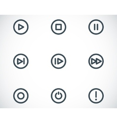 black media buttons icons set vector image vector image