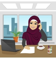 business arab woman with laptop at office vector image