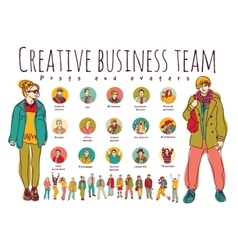 Creative business team posts and avatars icons vector image vector image
