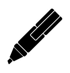 dark contour highlighter pen icon vector image