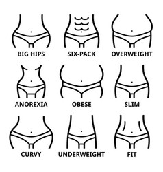 female body shape - fit big hips obese overweig vector image