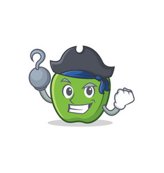 pirate green apple character cartoon vector image vector image