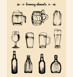 set of vintage brewery elements collection vector image