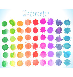 colorful watercolor splashes set vector image vector image