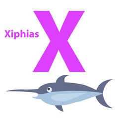 funny alphabet with cartoon animal purple letter x vector image vector image
