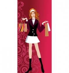 glam shopping girl vector image vector image