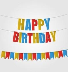 Happy birthday card carnival flag vector image vector image