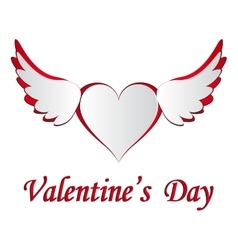 Red and white heart with wings cut on the isolated vector image vector image