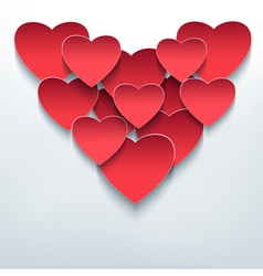 Valentine background with 3d hearts cutting paper vector image