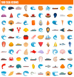 100 sea icon set flat style vector image