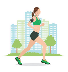 a woman running while listening to music vector image