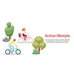 active lifestyle people riding on bicycle vector image