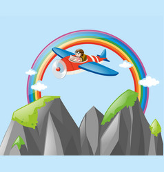 airplane flying through the rainbow vector image