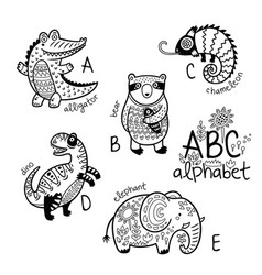 Animals alphabet a - e for children vector