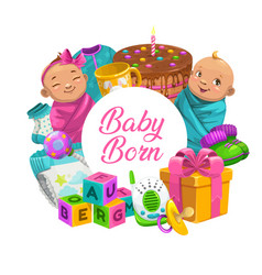 Baby care cartoon poster with children toys frame vector