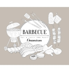 Barbecue Party Vintage Sketch vector